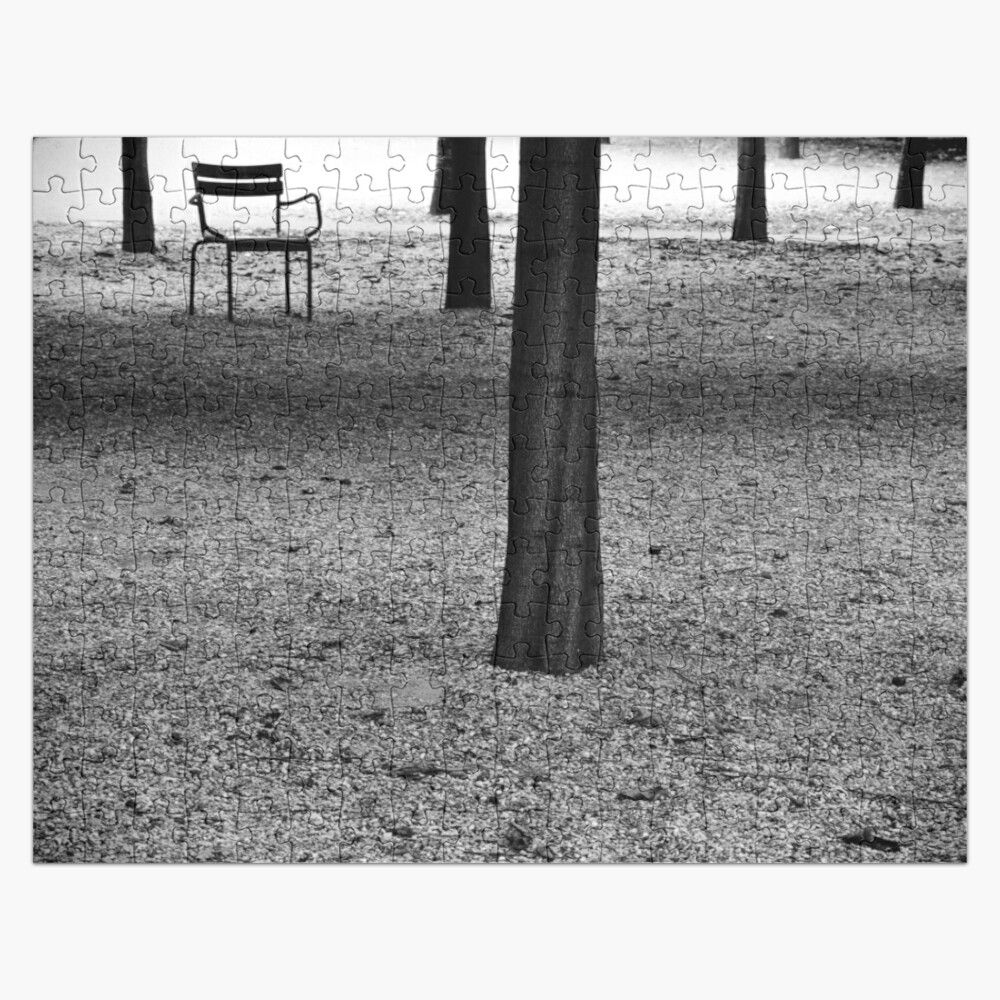 Monochrome photo of a single chair at the Jardin du ...