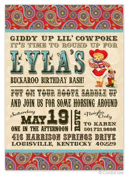 Vintage Cowgirl Birthday Invitation By Cordial Lee