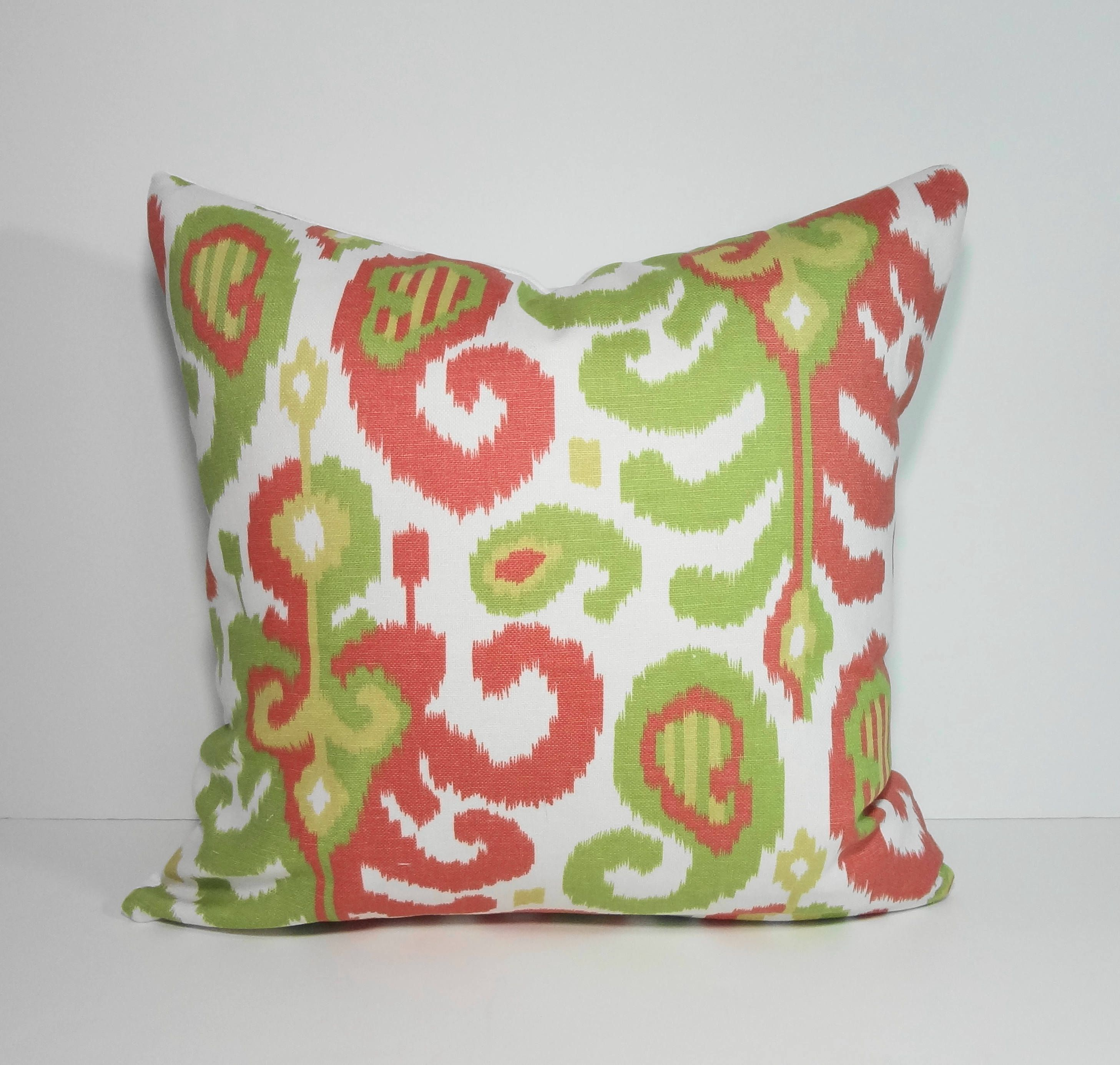 Ikat spring decorative pillow cover pink light green x