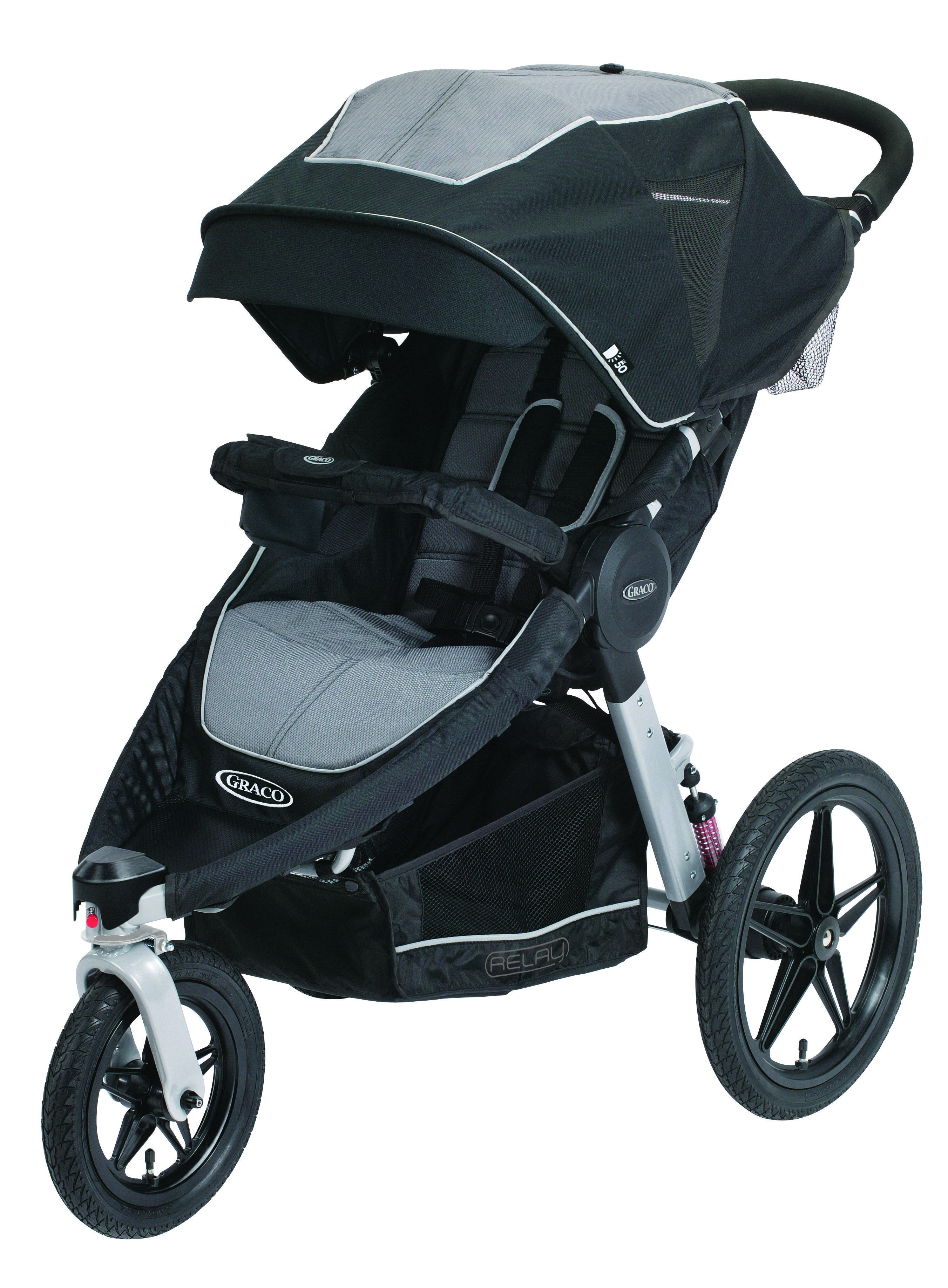 Graco Relay stroller in Panther, with all accessories