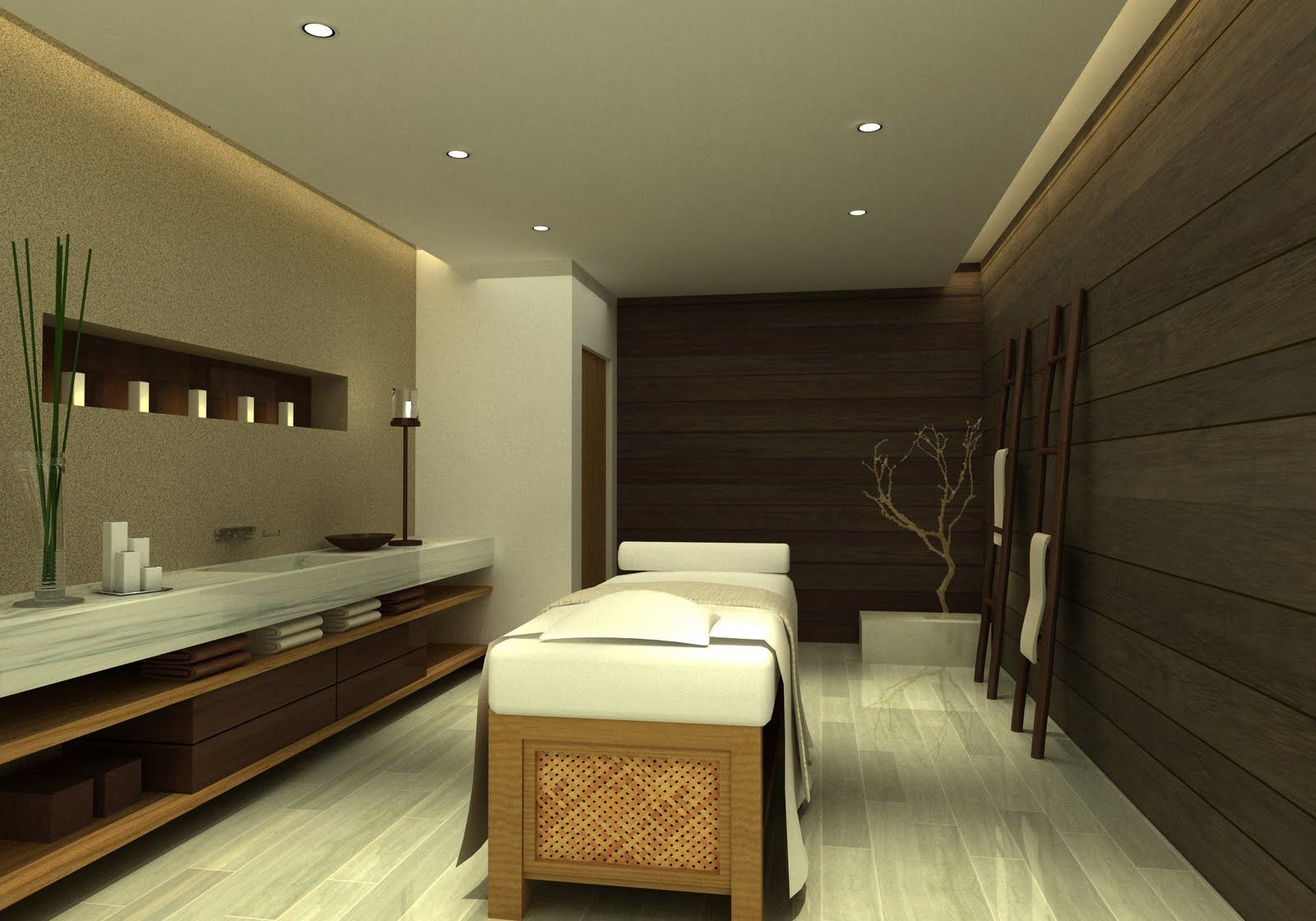 love the clean lines of this massage room for the home