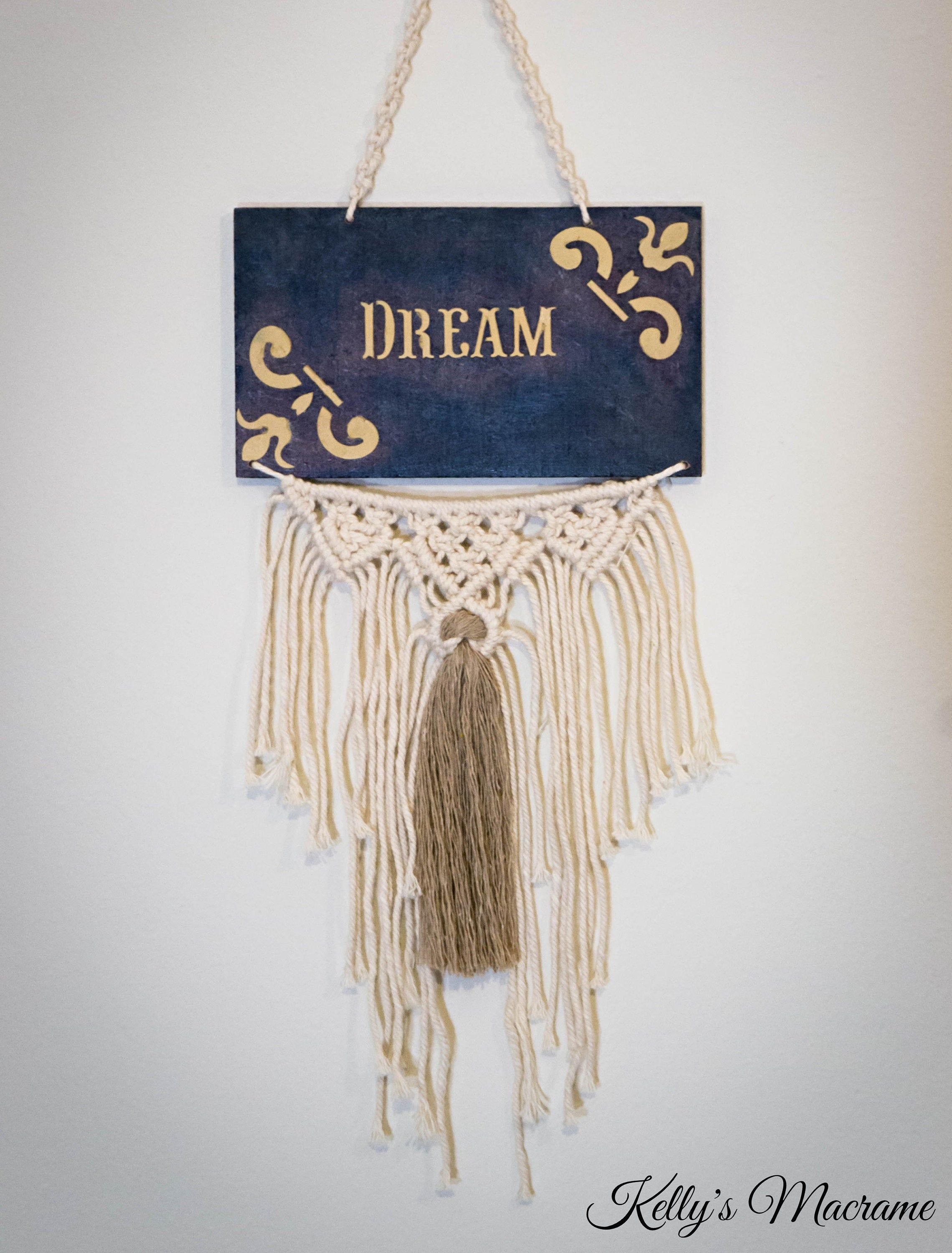 Macrame Wall Hanging Macrame Wall Decor Home Decor Dream Sign