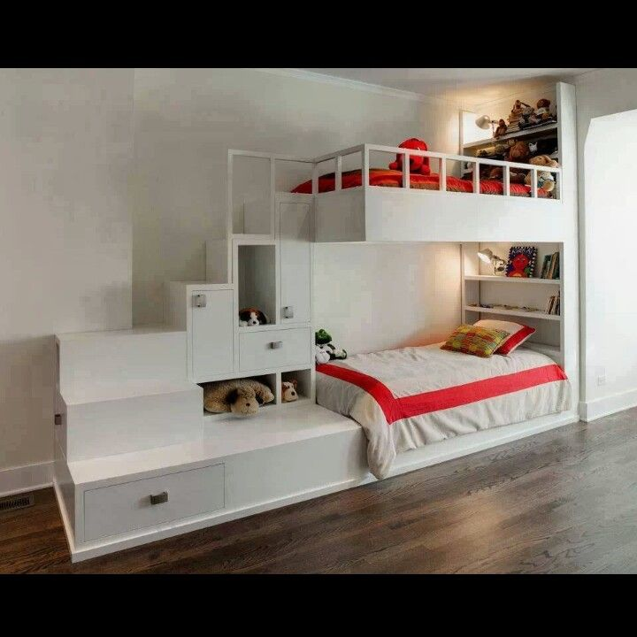 Double deck bed bedroom pinterest double deck bed for Bedroom designs with double deck