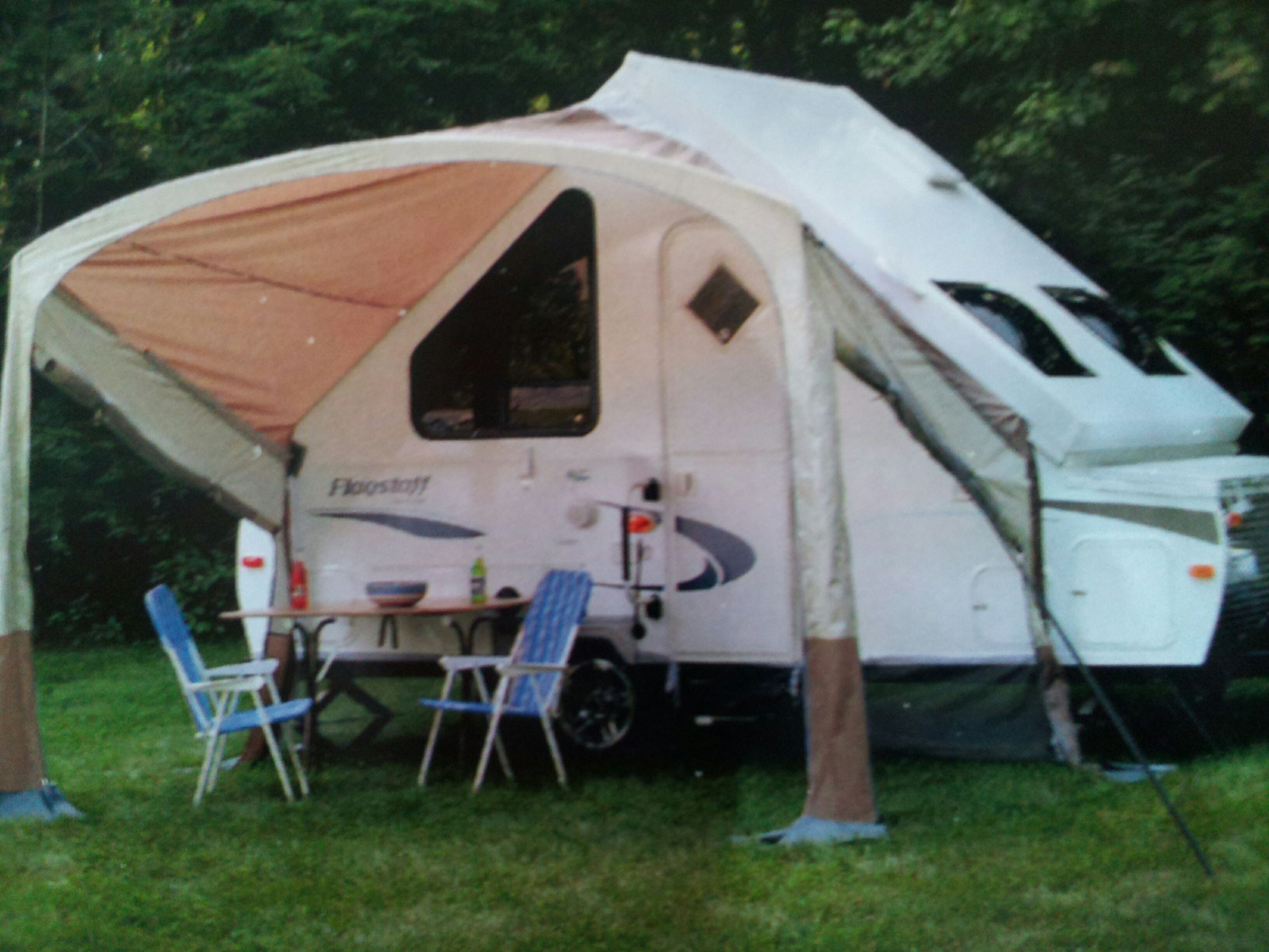 hard and sided trailer awning river awnings is their forest trailers for room screen frame combo pin this s flagstaff rockwood a camping models