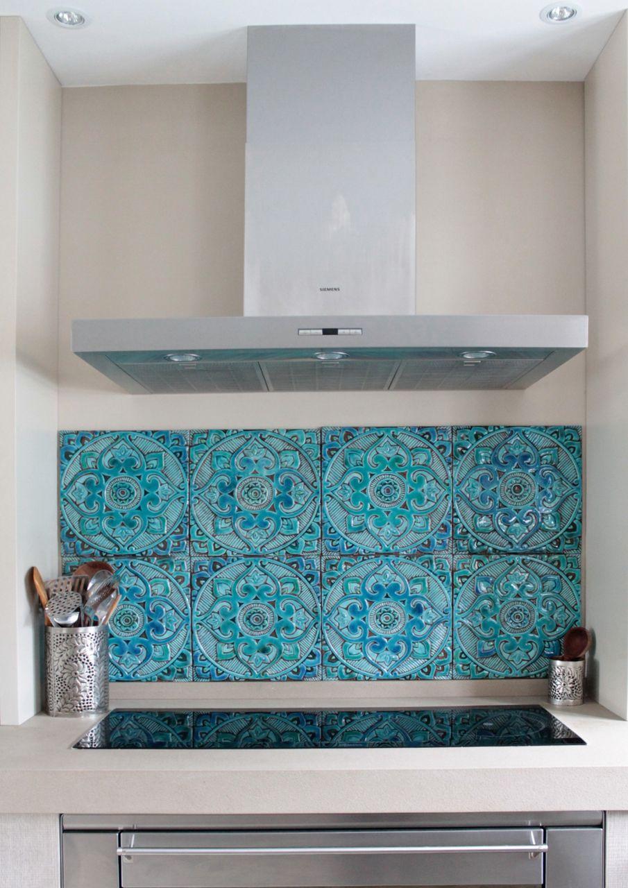 Handmade tile - mandala   turkuaz   Pinterest   Mandala, Kitchens ...