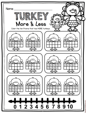 FREE Turkey more than/less than worksheet - perfect for ...