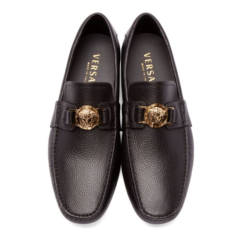Versace Black Grained Leather Loafers  685fbbe152b