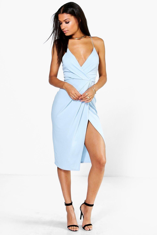 Strappy Wrap Detail Midi Dress Boohoo Australia Dresses Fashion Wrap Dress Midi