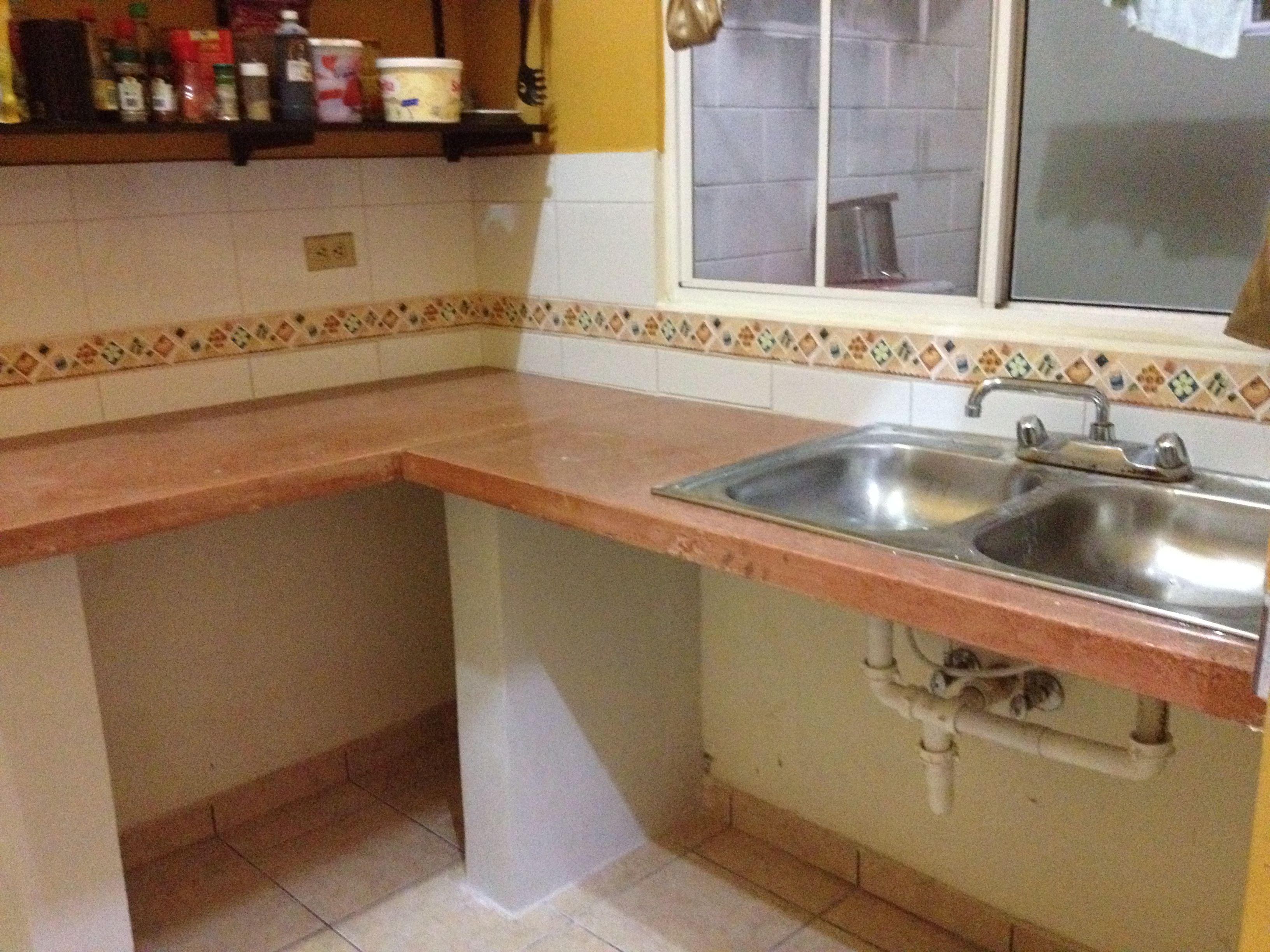 Area de cocina y lavamanos empotrado cubiertas de - Encimeras de cemento ...
