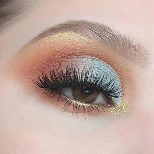 Pastel and gold eye makeup
