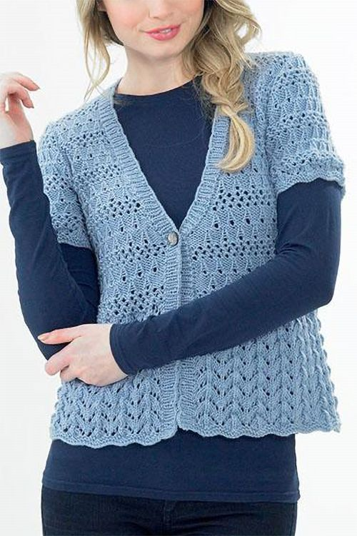 Knitting Pattern for Cardigan with Lacy Peplum - Empire ...