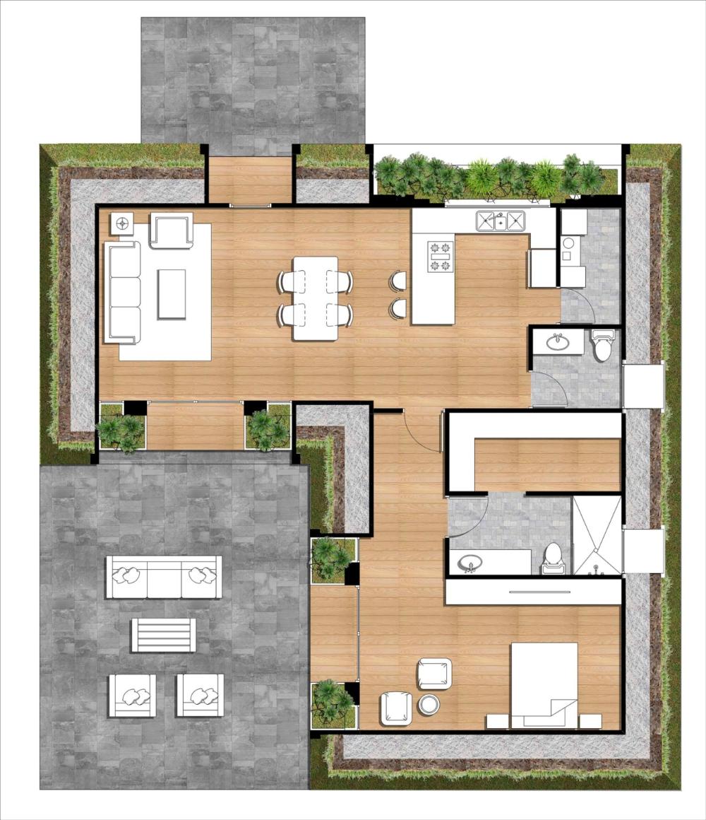 Gmh Terranova 1br Floorplan Color Solar Design Green Magic Homes Passive Solar Design