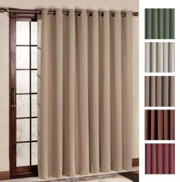 Ultimate Blackout Patio Door Curtain Panel With Detachable Wand Handle Sliding Glass Door Window Door Coverings Patio Door Coverings