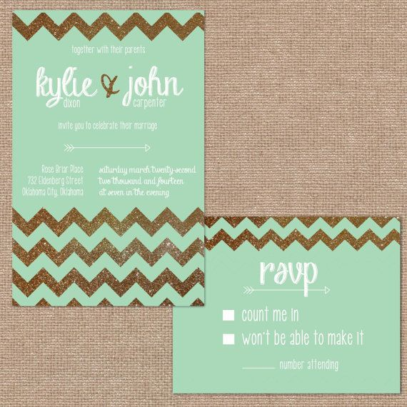gold glitter chevron and mint wedding invitation too casual for wedding invite but maybe for - Mint And Gold Wedding Invitations