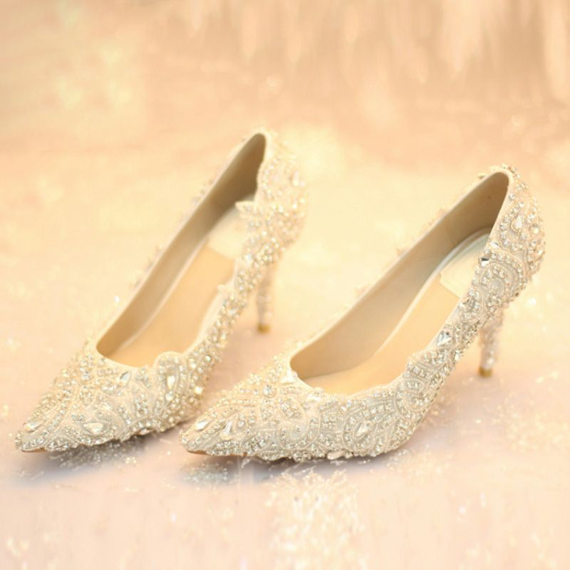 chaussure mariage ivoire incrustée brillant strass