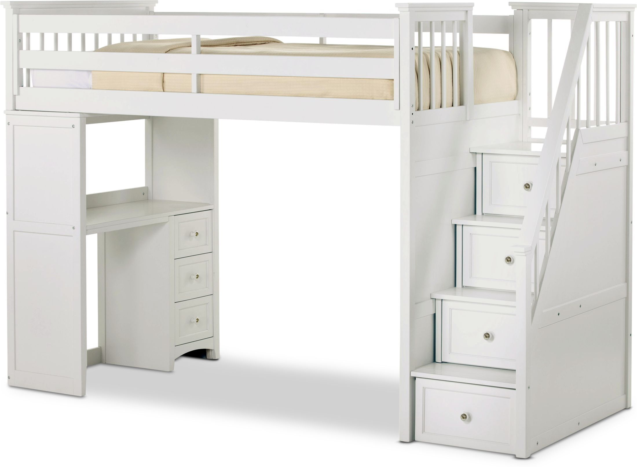 Flynn Loft Bed With Storage Stairs And Desk Value City Furniture And Mattresses Bunk Beds With Stairs White Loft Bed Bunk Bed Designs Loft beds with storage and desk