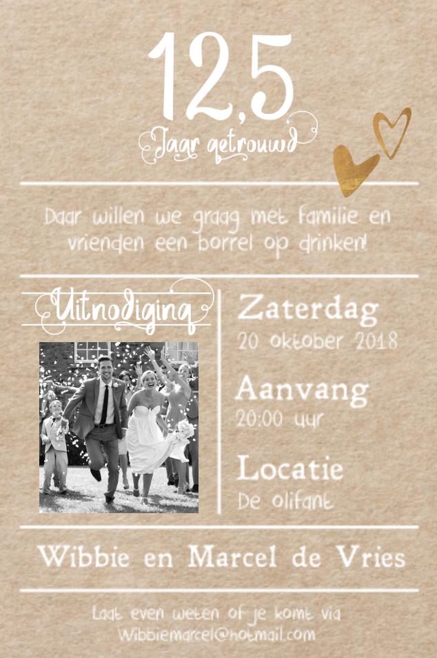 lovz   uitnodiging 12,5 jaar getrouwd foto, lijnen, kraft print