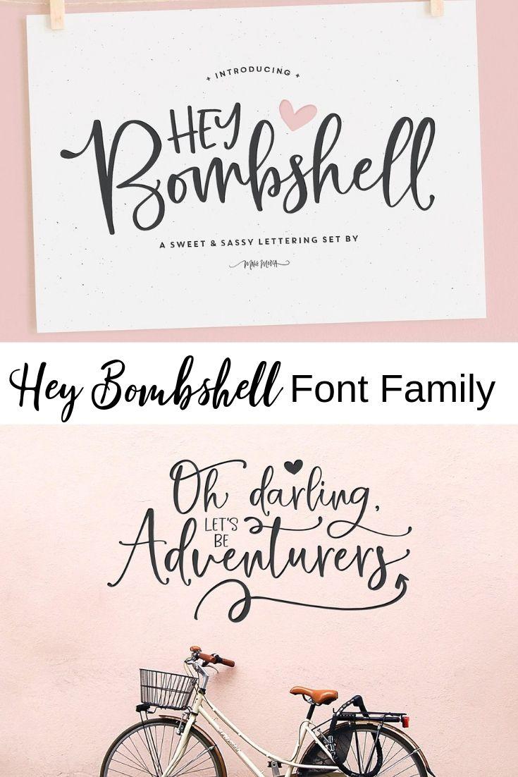 Hey Bombshell Font Family Bombshell font, All caps font