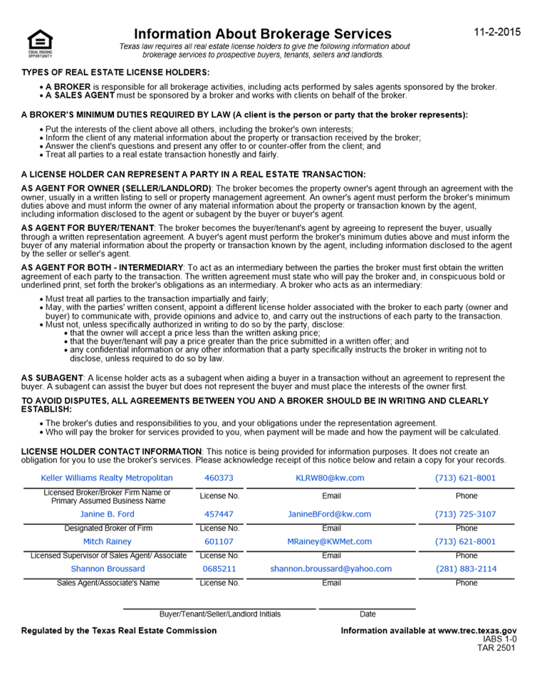Texas Real Estate Commission Consumer Protection Notice  Texas