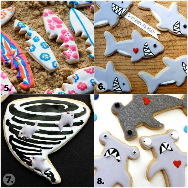Twenty Shark Cookie Ideas for Shark Week #sharkweekfood Twenty Shark Cookie Ideas for Shark Week #sharkweekfood