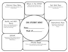 current events with cnn news a graphic organizer for the week middle school pinterest. Black Bedroom Furniture Sets. Home Design Ideas