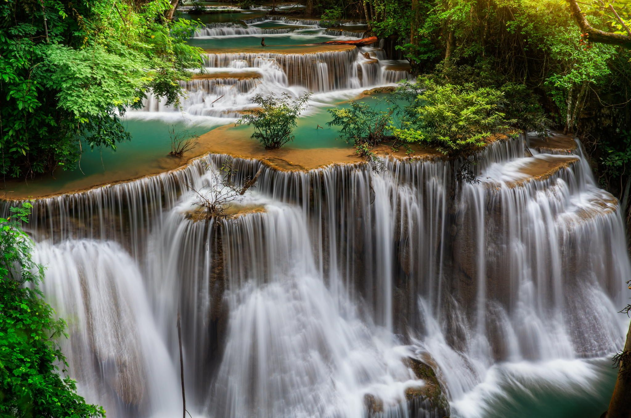Level six of Waterfall Huai Mae Kamin in Kanchanaburi,. Description from dreamstime.com. I searched for this on bing.com/images