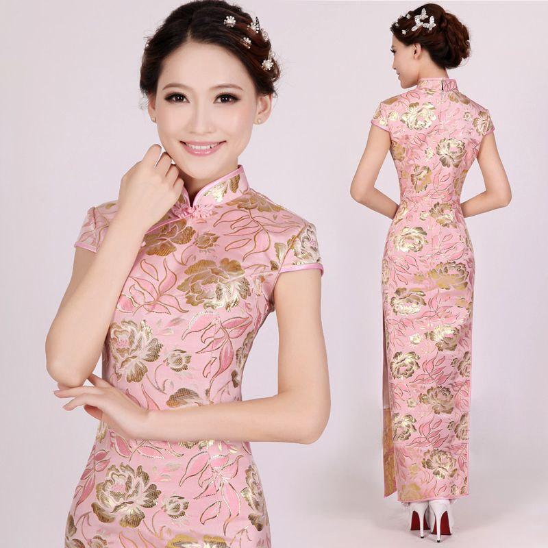 caaced49 Mandarin collar gold floral pastel pink brocade cheongsam traditional long  Chinese sheath dress YiRenXInNiang-15129 001