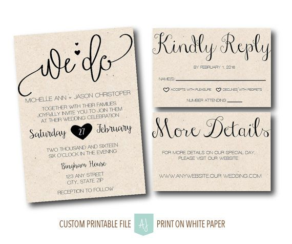 Printable Invite With Rsvp And Details Card Cursive Invitation For The Diy Bride Print At Home Or Take To A Printer