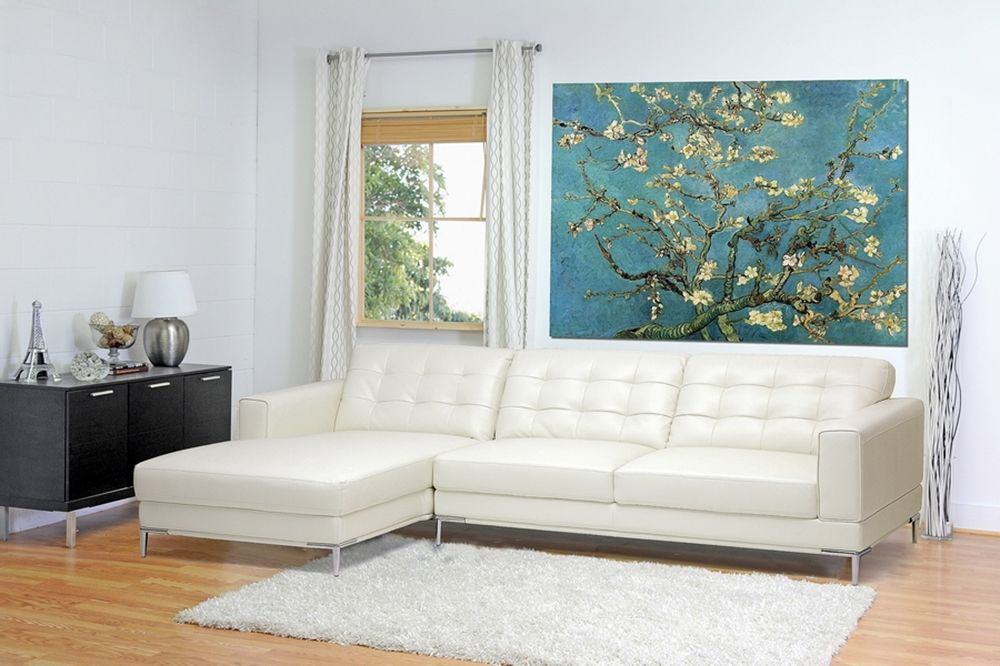 Babbitt Ivory Leather Modern Sectional Sofa   Affordable Modern Furniture  In Chicago
