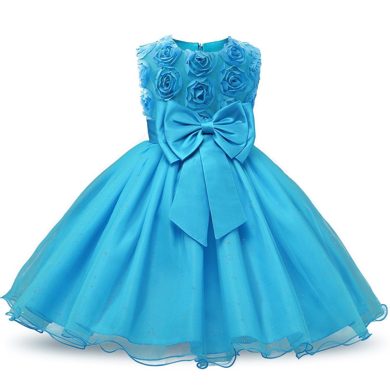 Amazon.com: NNJXD Girl Sleeveless Lace 3D Flower Tutu Holiday ...