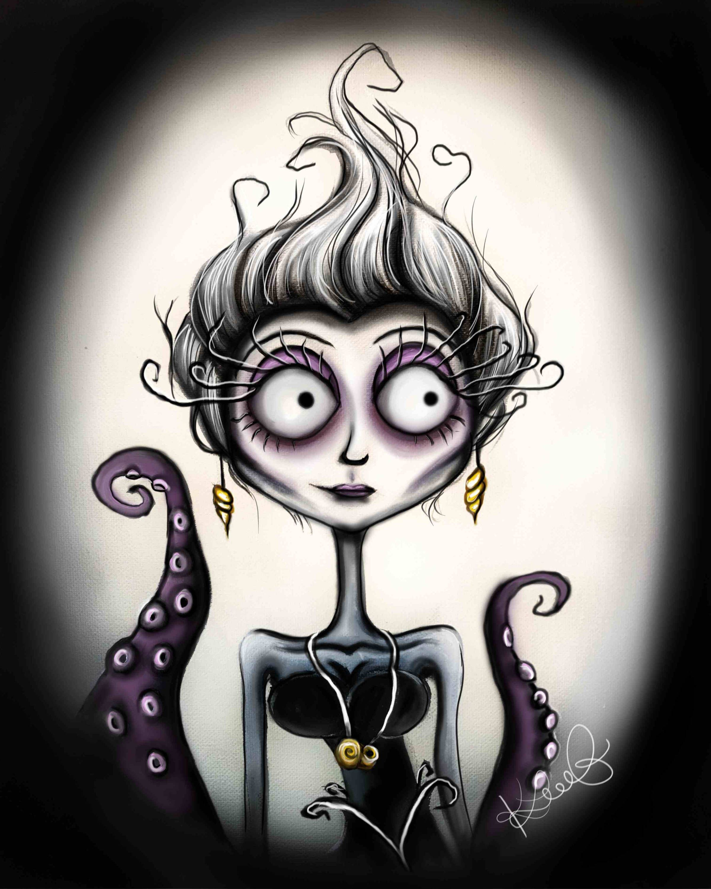 Ursula, tim burton inspired, wall art, print, decoration