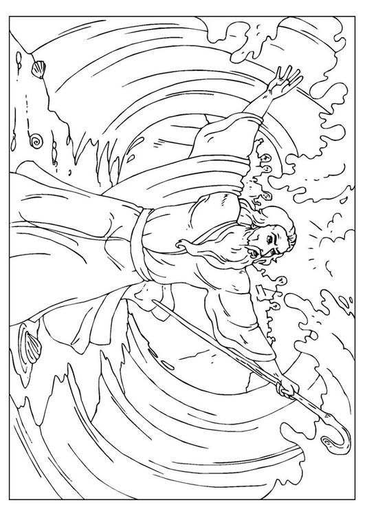Coloring Page Moses Parts The Red Sea Img 25959 Parting The