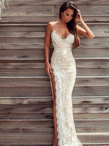 2ad0e86294 Hot Sexy Spaghetti Straps Split-Front Champagne Lace Long Prom Dress sold  by dressthat. Shop more products from dressthat on Storenvy, ...