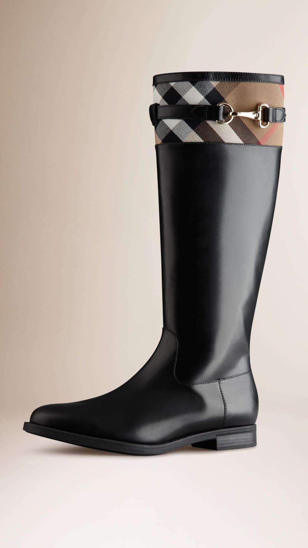 bottes cavalières avec motif house check (noir) - femme | burberry