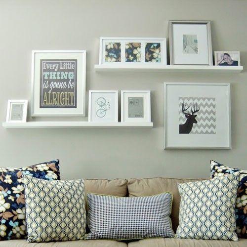 2 Ledge Shelf Ikea Ribba Picture Photo Display White Modern Art Shelves New Floating Shelves Living Room Room Decor Shelves Over Couch