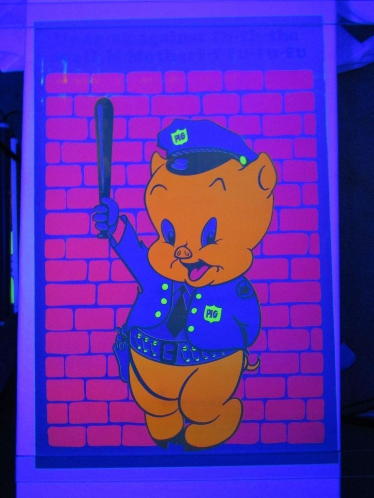 Vintage Psychedelic Blacklight Poster PORKY PIG Police Cop Dirty ...