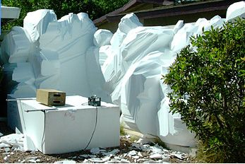 Markus hand carved foam blocks into boulders and rocks, and then coated them with special cement and paint.  epscrete