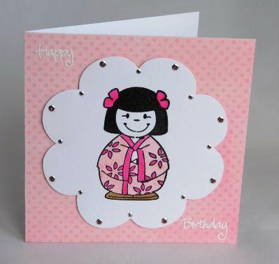 Japanese Doll Birthday Card Handmade Childrens Cards Pinterest