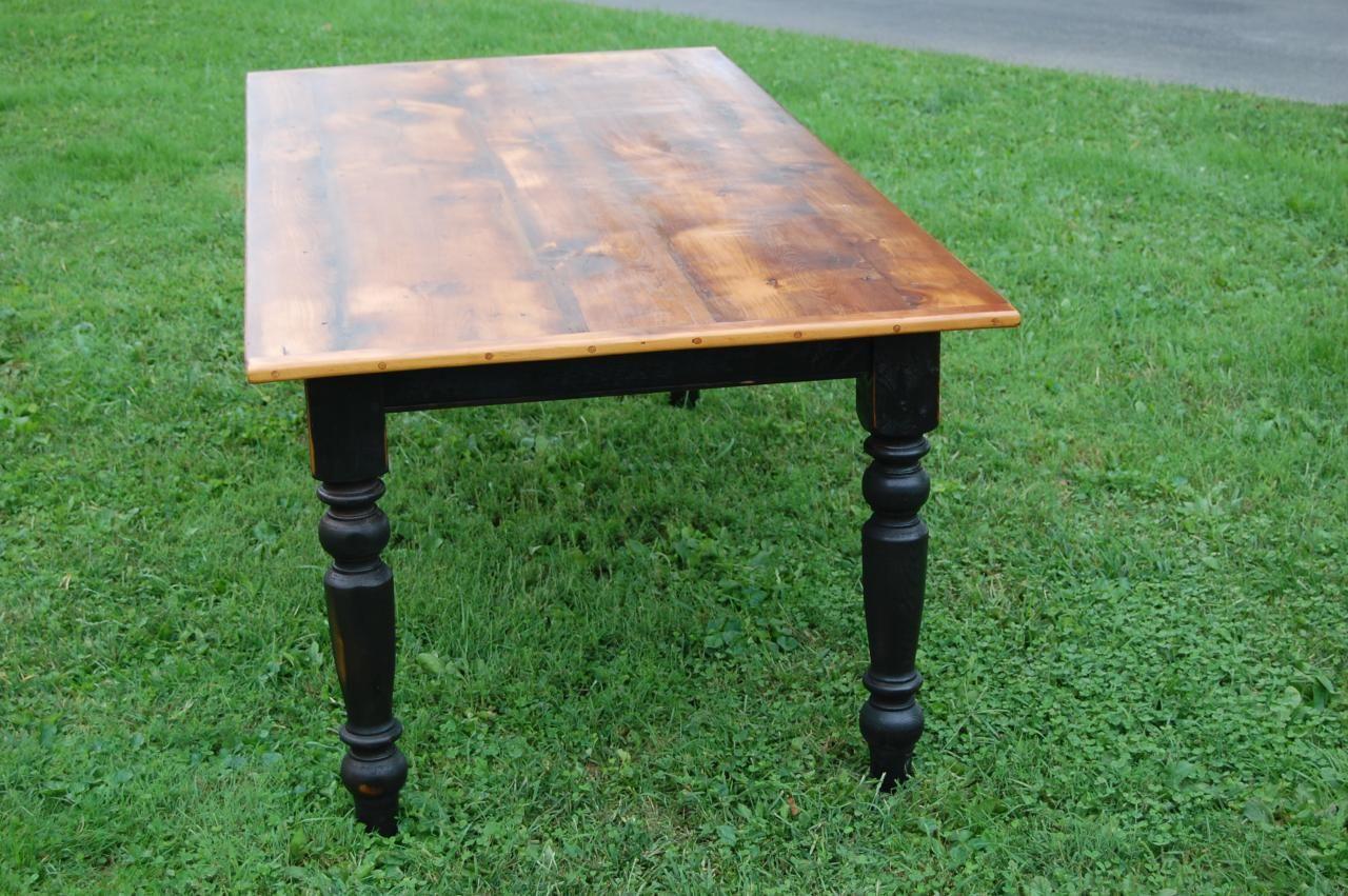 Farm Table Natural Wood Top Dark Turned Legs Natural Wood Table Wood Table Legs Painted Table
