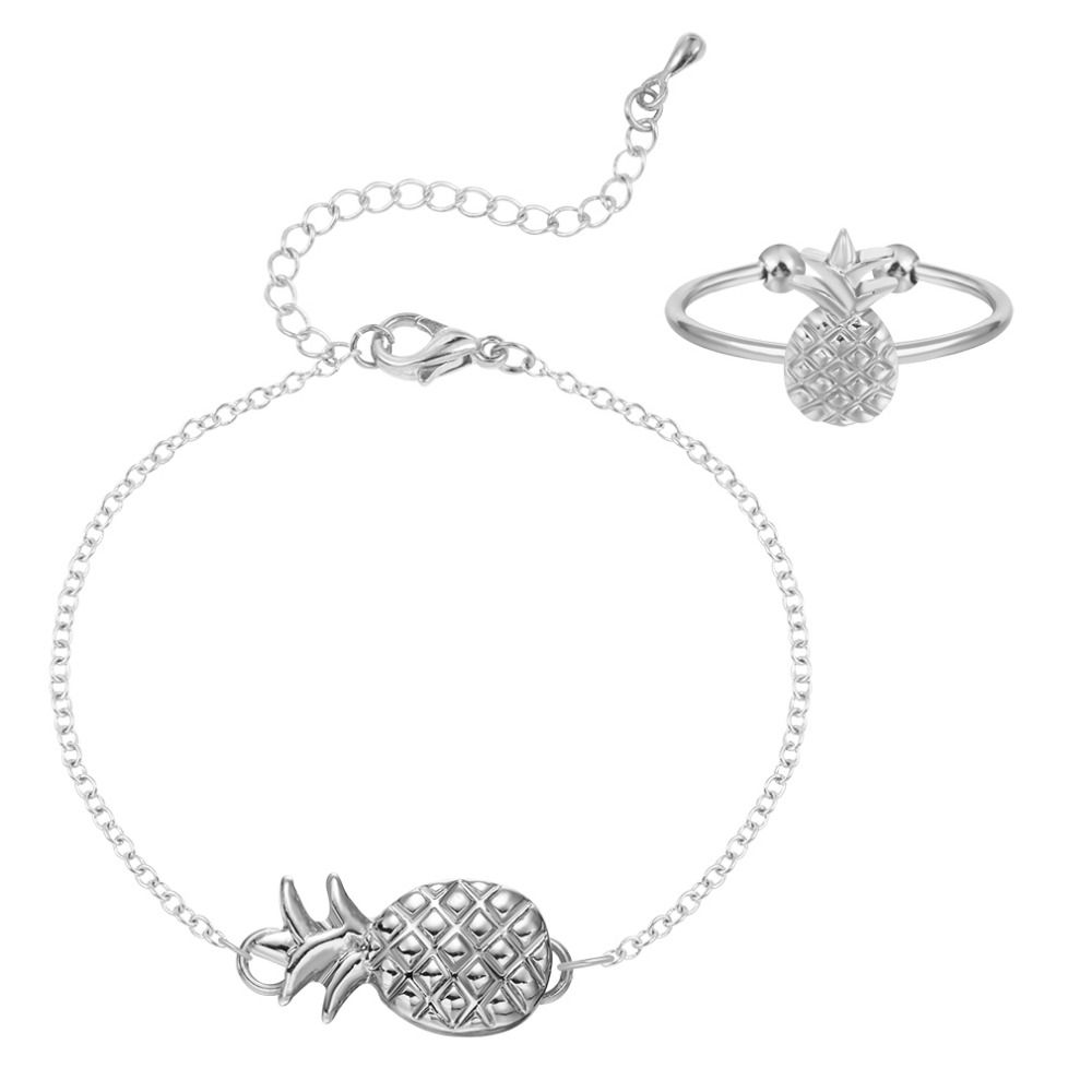 Qiming jewelry set bridesmaid cute pineapple ring bracelet