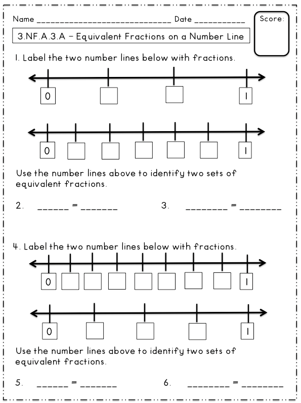 Equivalent Fractions On A Number Line Freebie  Math  Equivalent Fractions On A Number Line Freebie