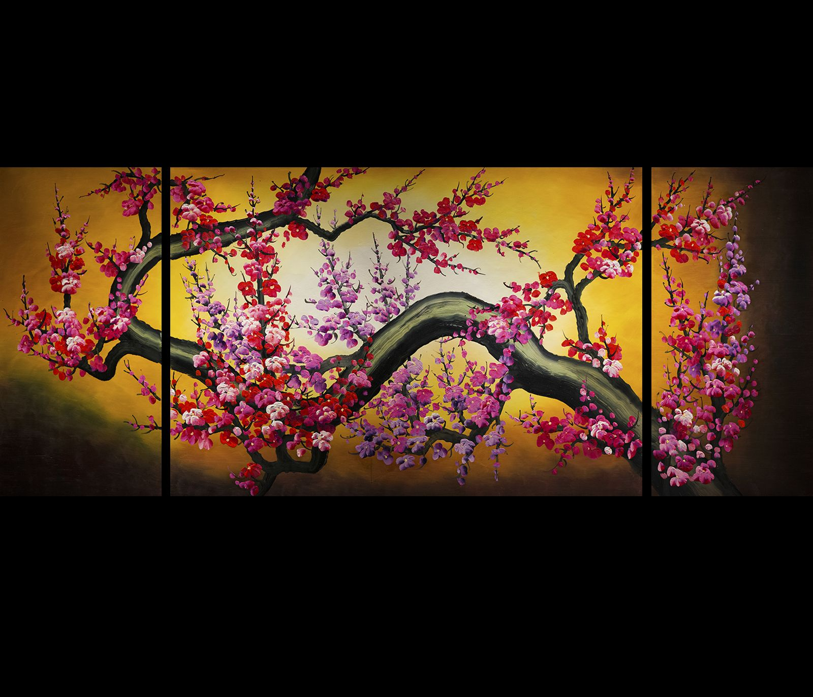 Cherry Blossom Canvas Wall Art cherry blossom painting feng shui painting canvas wall art decor