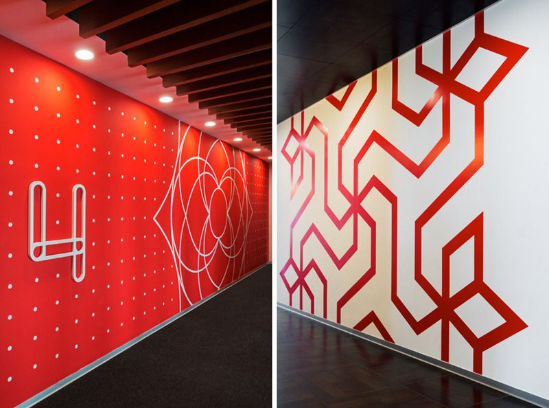 wall graphics in this office were inspired by indian folk art - Wall Graphic Designs