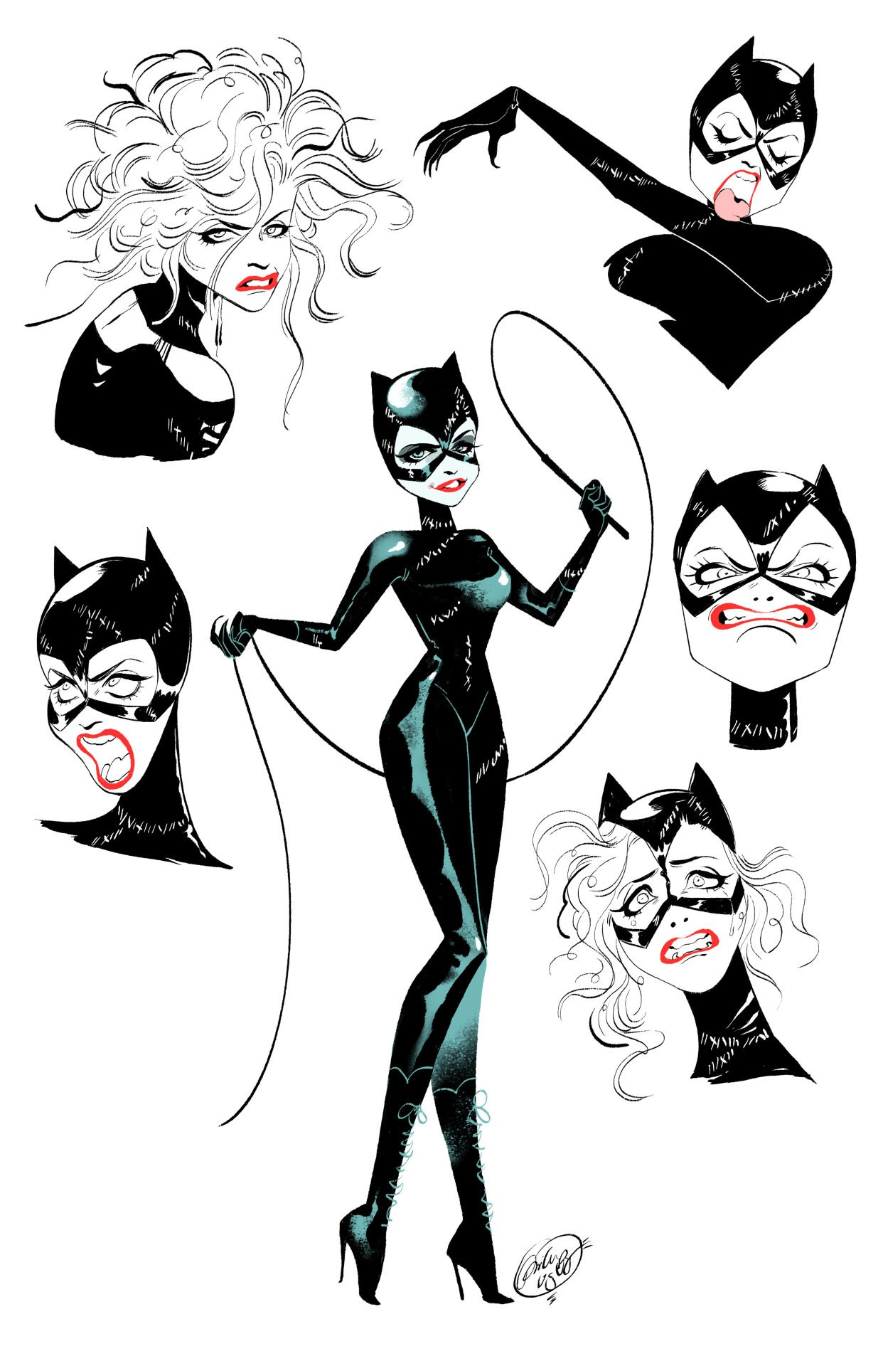 how to draw a catwoman