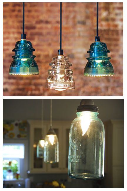 Antique Insulator Pendant Lights And Blue Mason Jar Lights Blue