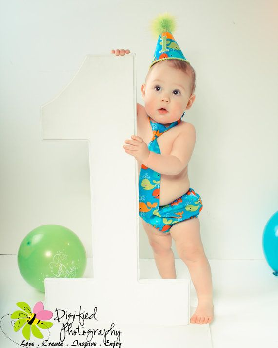 Baby Boy Toddler Cake Smash Birthday Outfit Including A Necktie Diaper Cover Party Hat In Bright Whales Via Etsy