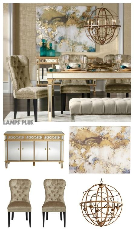 Dress Up Your Dining Room With The Luxe Of Gorgeous Gold Accents A Statement Globe Light Fixture Chic Mirrored Table Buffet Tied Together