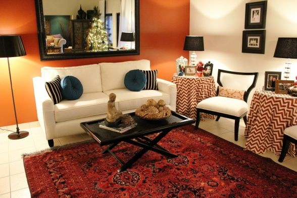 Burnt orange living room modern retro living room for Burnt orange living room ideas