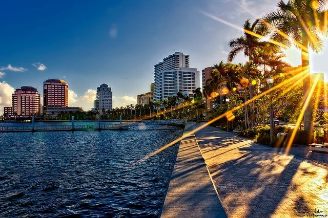Sunset Over Downtown West Palm Beach From The Flagler Drive Seawall Florida