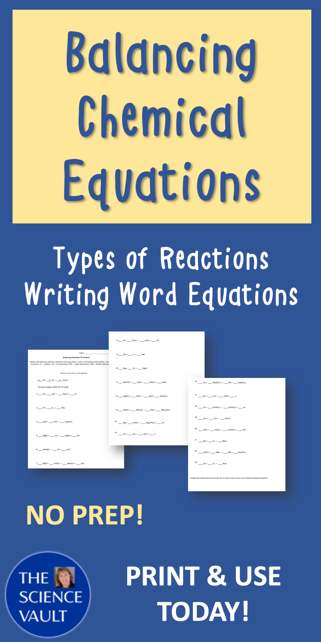 Balancing Chemical Equations Word Equations And Types Of